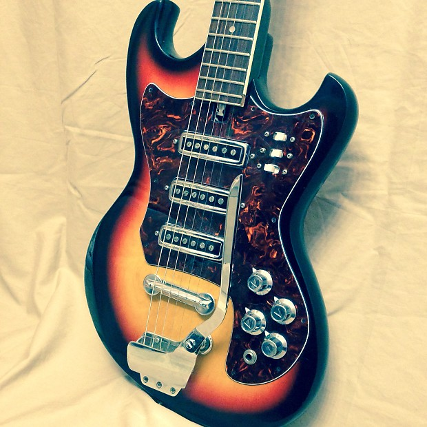 Vintage 1960s Teisco 3 Pickup Guitar w HSC | Reverb