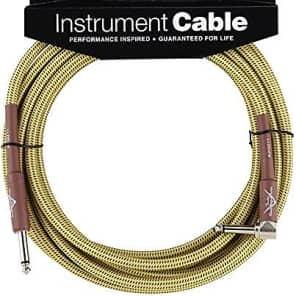 Fender Custom Shop TWEED Electric Guitar Cable, Straight to Right-Angle, 18.6' ft