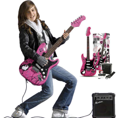 Jaxville   ST1PPPK Pack de bajo electrico con amplificador en color rosa for sale