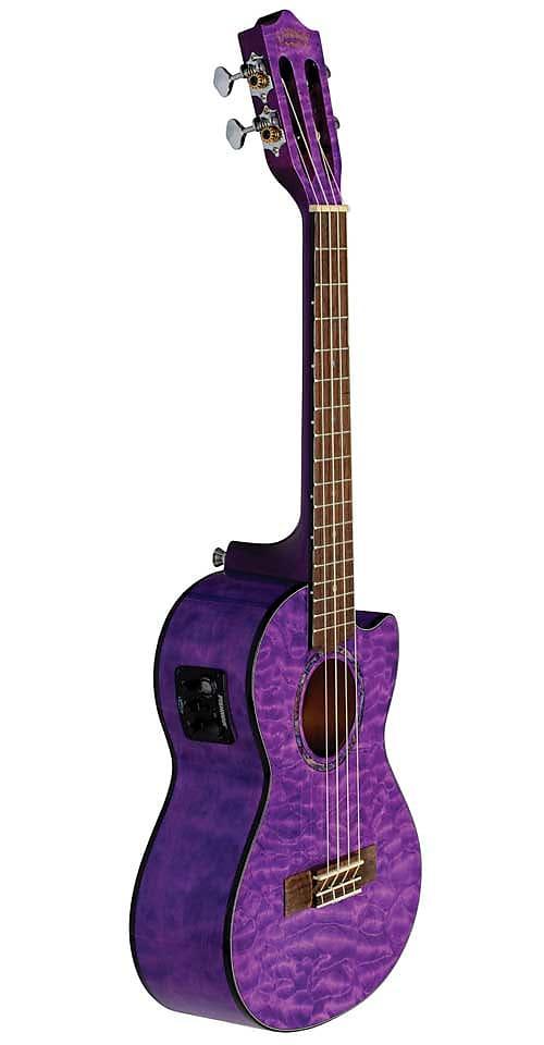 Lanikai QM-PUCET Quilted Maple Purple Cutaway Electric Tenor Ukulele w/ Bag