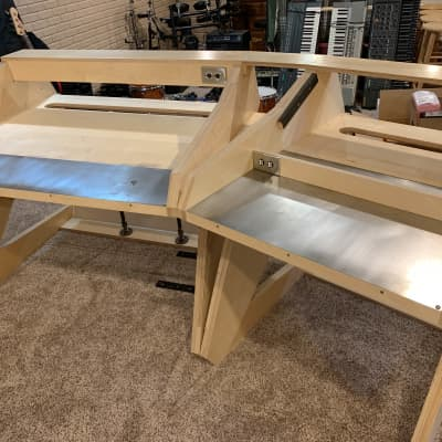 Handmade Studio Console Desk - Mixer Station - 2 Person - Baltic Birch Construction -  LED Lights