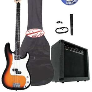 Electric Bass Guitar Pack with 20 Watts Amplifier, Gig Bag, Strap, and Cable, Sunburst for sale