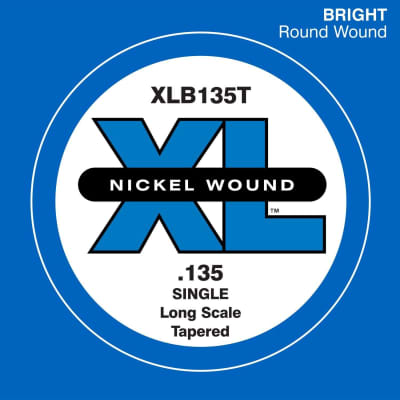D'Addario XLB135T Nickel Wound Long Scale Single Bass Guitar String, .135, Tapered