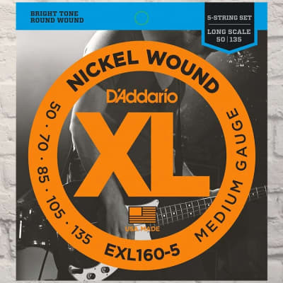 D'Addario EXL160-5 Nickel Wound Long Scale 5-String Bass Guitar Strings, Medium Gauge