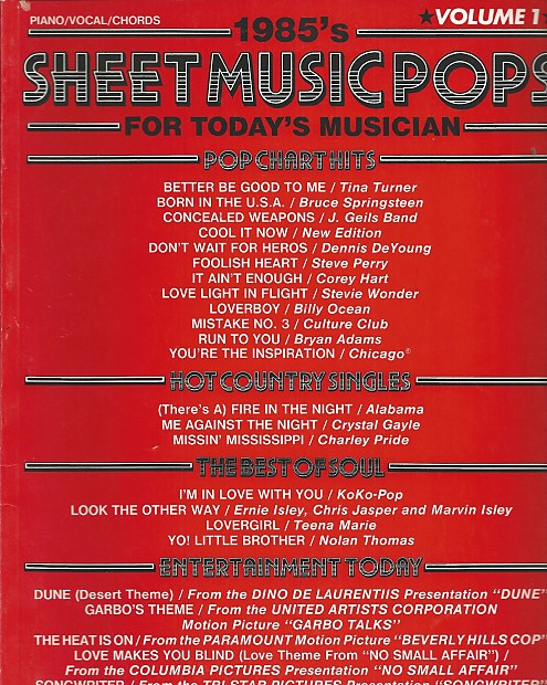 Columbia Pictures Sheet Music Piano Vocal Chords 1985 Reverb