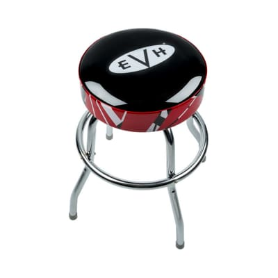 "EVH Eddie Van Halen 24"" Barstool, Red, Black, White Striped w/ EVH Logo"