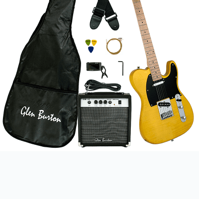 Glen Burton GE102BCO-BUT Solid Body T-Style Electric Guitar Combo w/Gig Bag, Amplifier, Strings