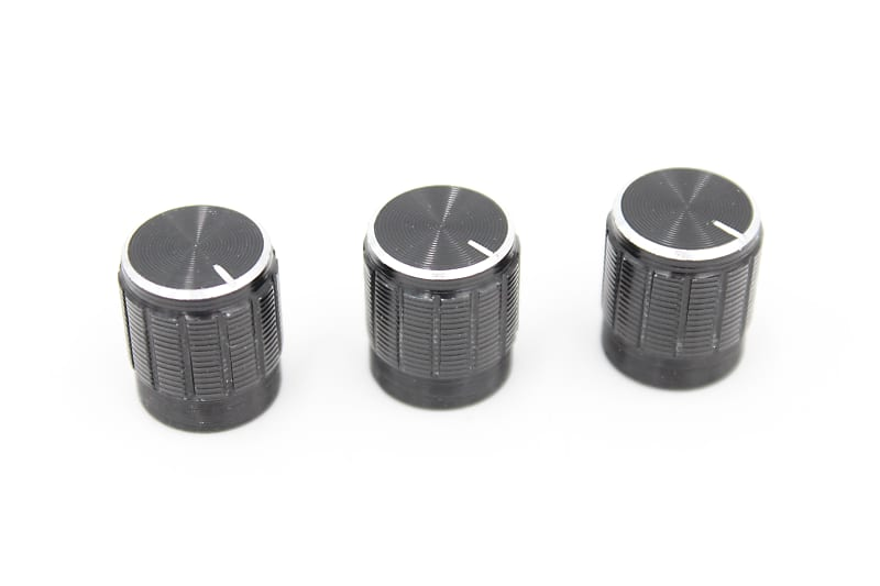3 black silver aluminum guitar pedal stereo knobs reverb. Black Bedroom Furniture Sets. Home Design Ideas