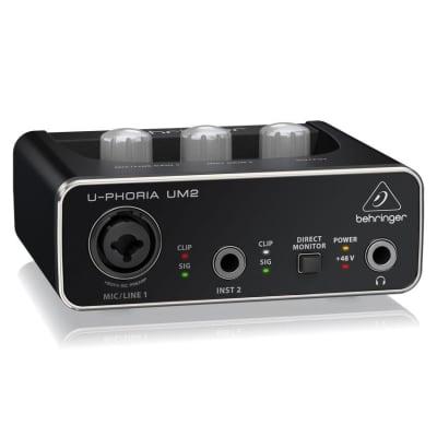 Behringer U-Phoria UM2 Audiophile 2x2 USB Audio Interface XENYX Mic Preamplifier
