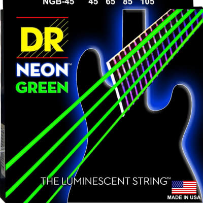 DR NGB-45 4 string Hi-Def Neon Green Coated Bass Guitar Strings 45-105 MED 2016 Neon Green
