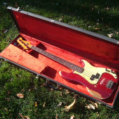 Vintage 1966 Feder Precision Bass - Very Rare Candy Apple Red Custom Color P-Bass - incredible wear! for sale