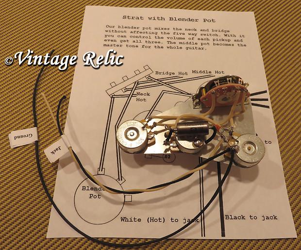 Wiring upgrade fits Stratocaster Blender Vol Mod PIO cap Fender switch on