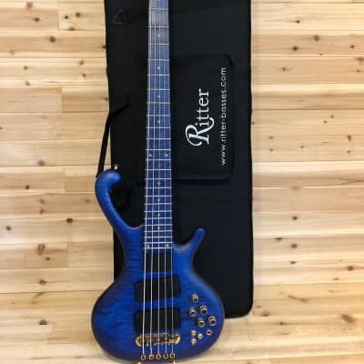 Ritter Classic 5 2005 Blue Frosted Transparent with Fretboard LED's roya for sale