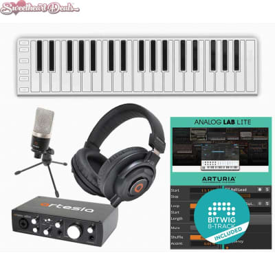 CME Xkey 37 LE USB MIDI Keyboard Audio Interface Mic Headphones Recording Bundle
