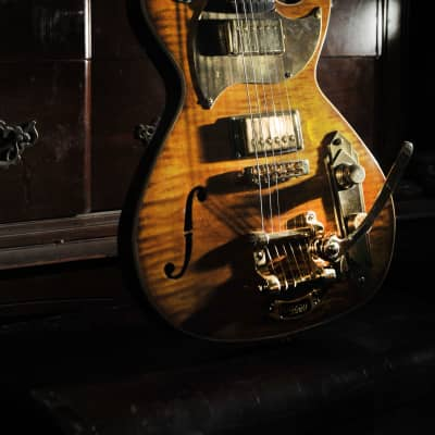 Postal Delta Zephyr Tigerburst Pearly Gates Pups Gold Bigsby Featured in vintage Guitar Magazine for sale