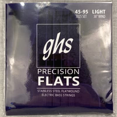 GHS Light Guage 45-95 Precision Flats Stainless Steel Flatwound Bass Strings