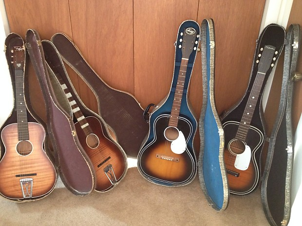 89f10bf4e9 Description; Shop Policies. Selling a set of 4 vintage parlor guitars with  their original cases.