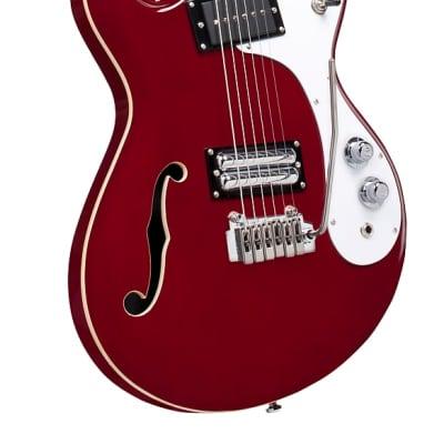 Danelectro 66BT-TRRED Semi-Hollow Double Cutaway Offset Horn Shape Baritone 6-String Electric Guitar