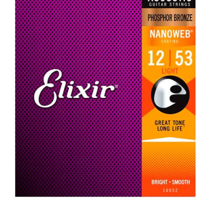 Elixir Phosphor Bronze Acoustic Guitar Strings with NANOWEB Coating, Light (.012-.053)