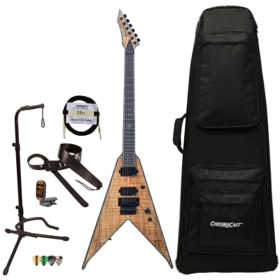 BC Rich Guitars Jr-V Extreme Exotic Electric Guitar with Floyd Rose, Case, Strap, and Stand, Spalted Maple for sale