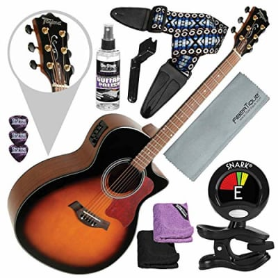Tagima America Series California-T Acoustic Electric Guitar, Sunburst with Guitar Strap and Accessory Bundle for sale