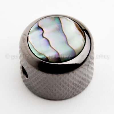 NEW (1) Q-Parts DOME Knob Single Black Chrome Natural Abalone SHELL - KBD-0004 for sale