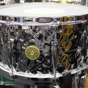 "Gretsch GB4164HB Brooklyn Hammered Chrome Over Brass 6.5x14"" 10-Lug Snare Drum"
