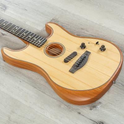 Fender American Acoustasonic Strat Guitar, Ebony Fingerboard, Natural