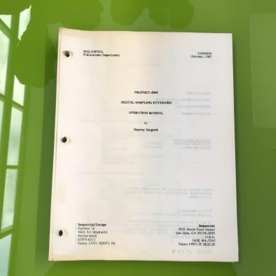 Sequential Circuits Prophet 2000 Sampler - Original Owner's manual 1985