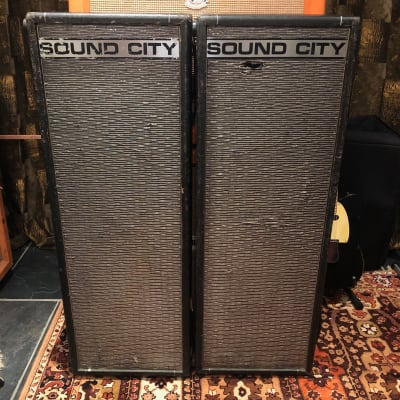 Vintage 1960s Sound City Pair 4x10 PA40 Dallas Arbiter Guitar Cabinets w/ Fane for sale