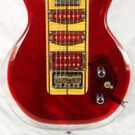 George Fedden Acrylic Offset Strat Electric Guitar Highly Flamed Neck Red/Clear for sale
