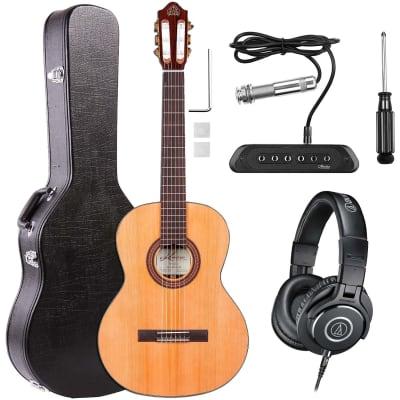 Kremona Fiesta FC Acoustic Guitar w/ Case, Amumu SP60 Pickup, AT ATH-M40X Headphones Bundle for sale