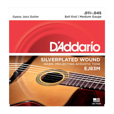 D'Addario Gypsy Jazz Acoustic Guitar Strings Set Ball End, Silver Wound Medium Gauge 11-45