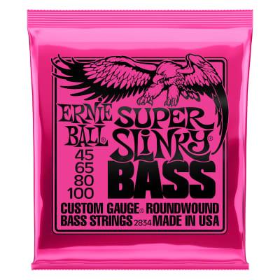 Ernie Ball 2834 Super Slinky Bass - Custom Gauge Roundwound Electric Bass Strings (45-100), 4-String