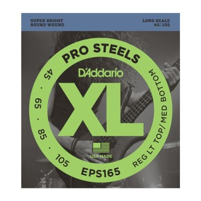 D'Addario EPS165 ProSteels Long Scale Bass Guitar Strings, Custom Light Gauge