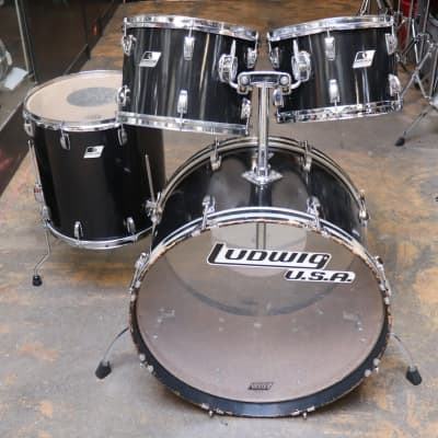Ludwig 4pc Rocker Drum Set Black Vintage 1980's