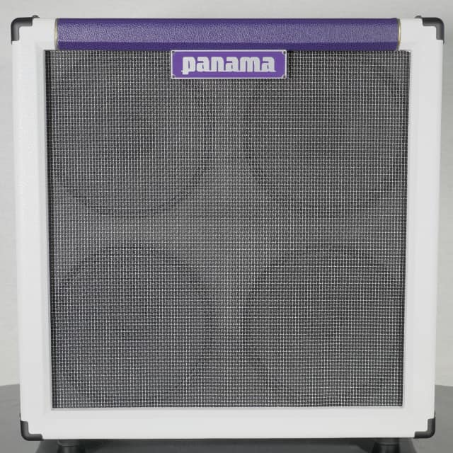 Panama Guitars Professional Series Oversized 4x10 Guitar Cab 2017 White / Plum w/Big Ben 10 Drivers image