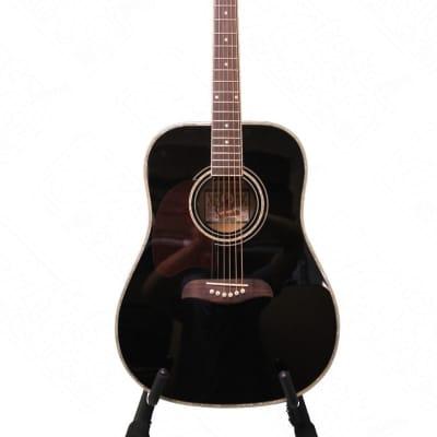Oscar Schmidt Left Hand Dreadnought Acoustic Guitar, Spruce Top, Black, OG2BLH