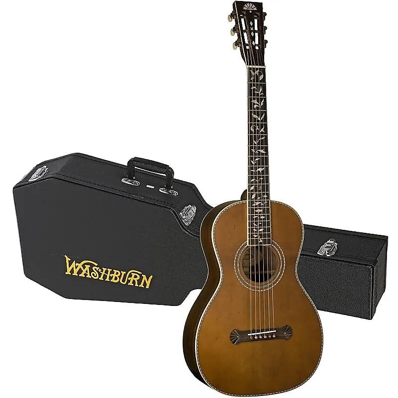Washburn R320SWRK Vintage Parlor 6-String All Solid  Acoustic Guitar w/Hardshell Case