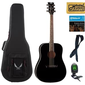 Dean Guitars Axs Series Dreadnought Acoustic Guitar, Mahogany, Classic Black, AX D MAH CBK LLPACK Case Bundle for sale