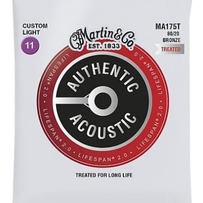 Martin MA175T Lifespan 2.0 80/20 Bronze Acoustic Guitar Strings - Custom Light