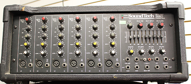 soundtech 306d 6 channel powered mixer w digital effects reverb. Black Bedroom Furniture Sets. Home Design Ideas