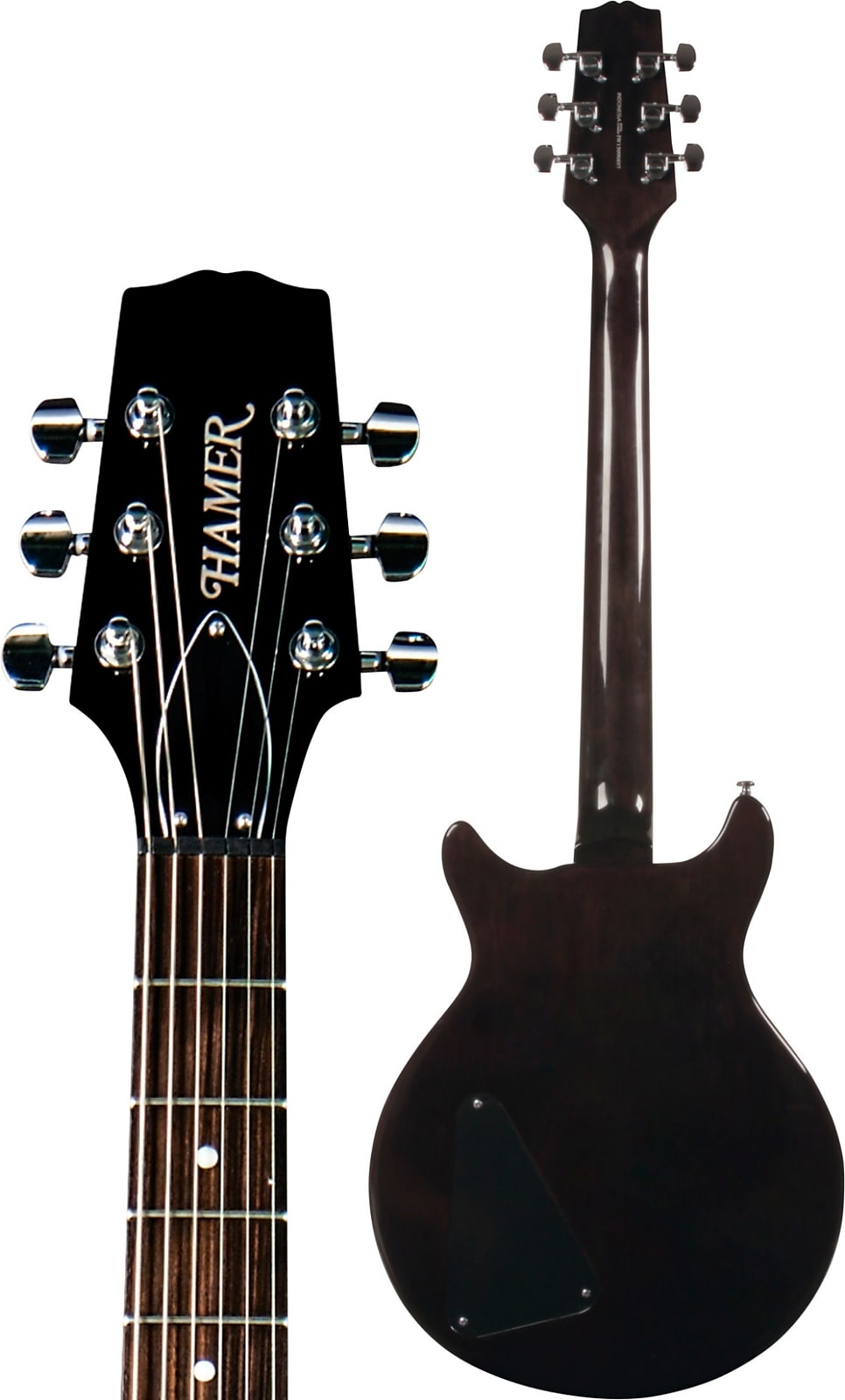 Hamer SATF-TBK Double Cutaway Flame Maple Archtop 6-String Electric Guitar - Transparent Black
