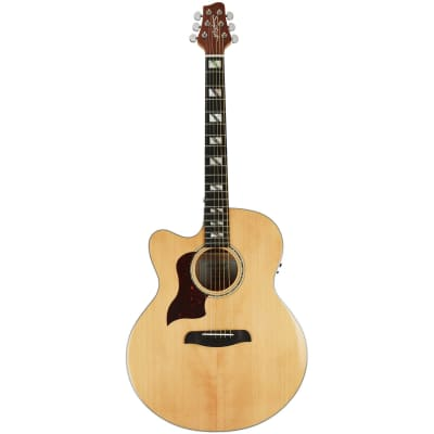 Sawtooth Solid Spruce Top Left-Handed Jumbo Cutaway 6 String Acoustic Electric Guitar with Flame Maple Back and Sides
