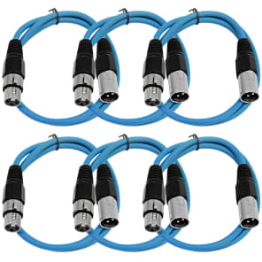 Seismic Audio SAXLX-2BLUE6 XLR Male to XLR Female Patch Cable - 2' (6-Pack)