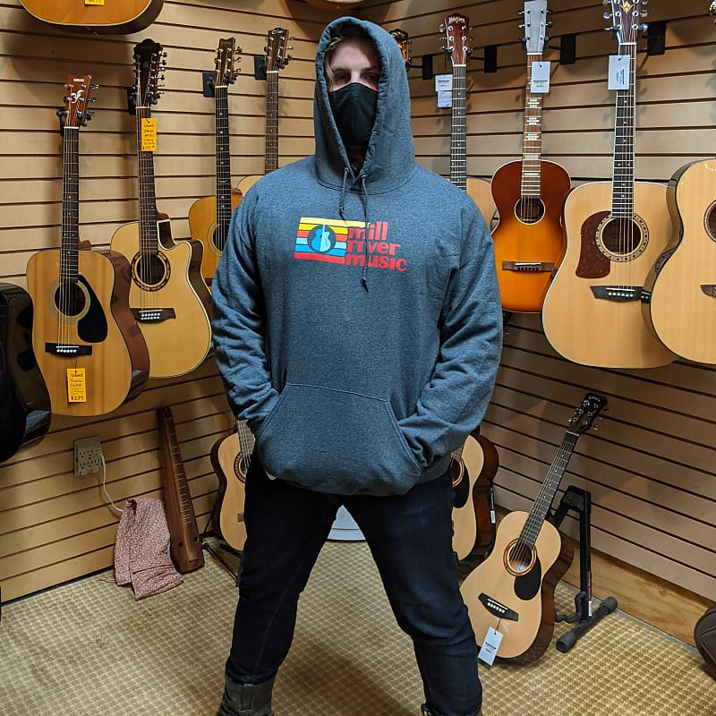 Mill River Music Pullover Hoodie 1st Edition Main Logo Unisex Ch Heather XL