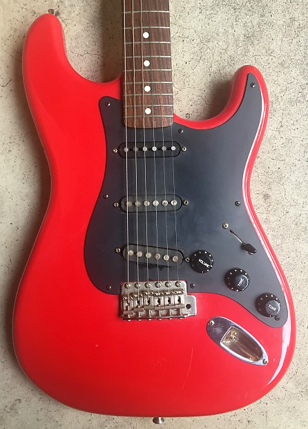squier stratocaster 1984 1987 e series made in japan red mij reverb. Black Bedroom Furniture Sets. Home Design Ideas