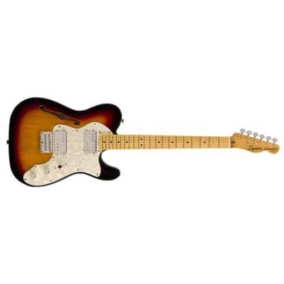 Squier Classic Vibe '70s Telecaster Thinline 6-String Electric Guitar, 21 Frets, C Shape Neck, Maple Fingerboard, Gloss Polyurethane, 3 Tone Sunburst