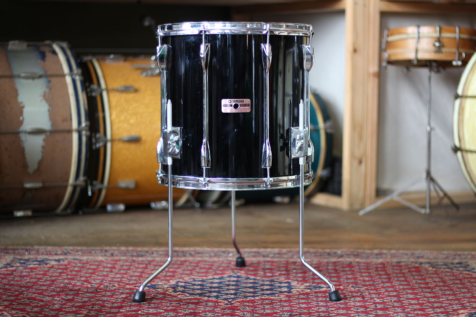1980 S Yamaha Recording Custom 14 X14 Floor Tom In Piano Black