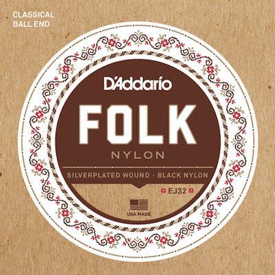 D'addario Folk Nylon Guitar Strings EJ32 Silver Wound/Black Nylon Trebles for sale